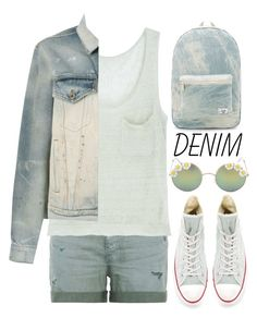"""""""All denim, head to toe"""" by alaria ❤ liked on Polyvore featuring AG Adriano Goldschmied, Ille De Cocos, Faith Connexion, Converse, Full Tilt, Herschel Supply Co. and alldenim"""