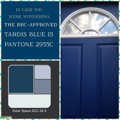 Step One: BBC approved Pantone Step Two: Behr Paint color match app Step Three: TARDIS blue front door