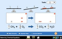 New HTML5 Balancing Chemical Equations simulation! How do you know if a chemical equation is balanced? What can you change to balance an equation? Play a game to test your ideas. Thank you AACT for your support. http://www.teachchemistry.org