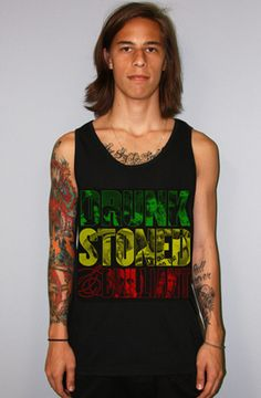 The Drunk Stoned & Brilliant_Rasta_Tank_Black by 8103