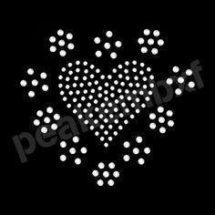 Rhinestone Heart With Flower Iron On Transfers Wholesale 50pcs/lot
