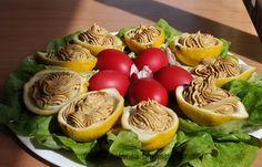 Oua umplute in corabioare de lamaie Easter Recipes, Eggs, Salad, Cheese, Breakfast, Food, Kitchens, Egg, Hoods