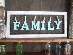 Sign Rustic wall decor Shabby Chic Family personalize name Aquamarine robin egg blue cottage farm house photo prop distressed gift