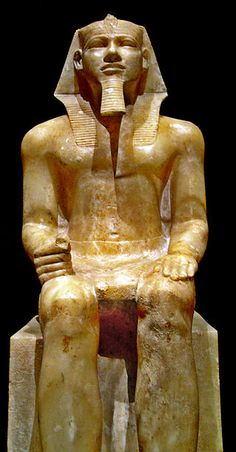 Sitting portrait of the egyptian pharaoh named Khafra or Khafre (Greek Chephren); it was found in Mit Rahina and resides in the Egyptian Museum, in Cairo, Egypt. Fourth dynasty (between 2558 BC and 2532 BC) by JM Benito Alvarez