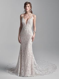 Abundant florals are the key to this sexy lace V-back sheath bridal gown's chic and boho charm. We're giving A+ in shimmer, wearability, and presentation. Dress: Canterbury by Maggie Sottero, A Line Bridal Gowns, Bridal Dresses, Sottero And Midgley Wedding Dresses, Sottero Midgley, Dream Wedding Dresses, Wedding Gowns, Prom Boutiques, Blush Gown