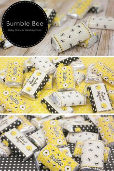 Bee Themed Sticker Wrappers for Hershey Kiss Mini Bars. So Cute!