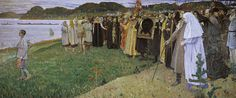In Rus. The Soul of the People. The last religious symbolic painting Nesterov painted before the revolution. The picture depicts the Russian people following a young boy, while in the background a Russian religious figure, an old holy fool, stays aside, praying ecstatically, wearing no clothes and possibly warning