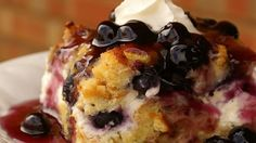 This is a very unique breakfast dish. Good for any holiday breakfast or brunch, it's filled with the fresh taste of blueberries, and covered with a rich blueberry sauce to make it a one of a kind.