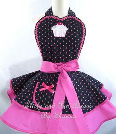 Hot Pink Polka Dot Cupcake Apron