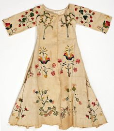 18th century crewel work child's dress, American.