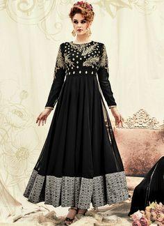 Snazzy Faux Georgette Embroidered Work Floor Length Anarkali Salwar Suit