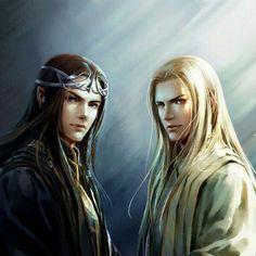 Celebrimbor son of Curufin son of Fëanor ( on the right ) and Annatar  ( Sauron )