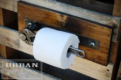 Wondering what was missing in your life? The answer is a toilet paper holder made from a wrench! Make your bathroom one-of-a-kind with this holder made from a reclaimed pine base, raw steel, a big bolt and a pipe-fitters wrench! Whether its the for shop or the man cave, this unique item makes the perfect gift for the man in your life. PS. It looks great with our industrial towel rack! https://www.etsy.com/listing/205166466/industrial-wrench-towel-rack? DIMENSIONS: 15 L…