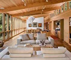 Warm wood and clerestory windows make the interior of the residence glow - Turnbull Griffin Haesloop Architects