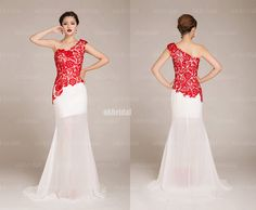 red and white bridesmaid dresses lace prom dress sexy by okbridal, $148.00