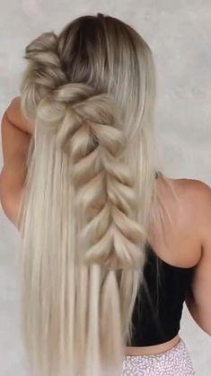 Easy Hairstyles For Long Hair, Classy Hairstyles Medium, Cute Blonde Hairstyles, Hair Down Hairstyles, Girl Hairstyles, Mermaid Hairstyles, Elven Hairstyles, Fishtail Braid Hairstyles, Updos
