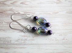 Purple Pearl Iridescent Blue Purple Cut Glass Earrings Jewelry