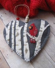 cardinal birch tree felt heart ornament