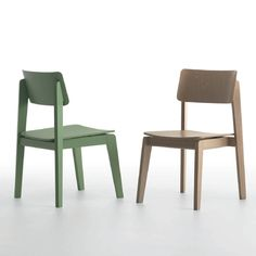 Offset 1.1, Side chair with beech frame and wood seat and back. Hospitality, Interior, Design. Green and Natural.