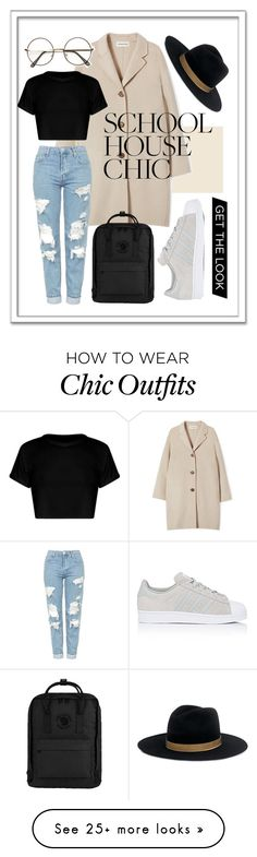 """""""Cool School"""" by diceandbels on Polyvore featuring Topshop, Fjällräven, Janessa Leone and adidas"""