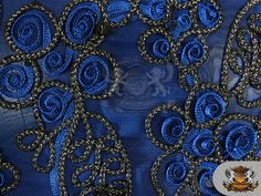 Mesh Metallic Embroidered Soutache Cording Fabric by FabricEmpire, $14.75