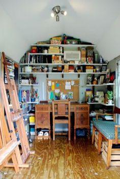 55 Cool DIY Backyard Studio Shed Remodel Design & Decor Ideas - HomeSpecially Art Studio Design, Art Studio At Home, Home Art, Art Studio Room, Paint Studio, Design Art, Rangement Art, Cool Diy, Tyni House