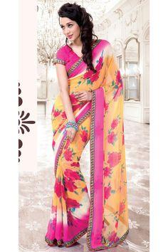casual printed pink saree
