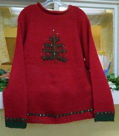 Quacker Factory Christmas Tree Tunic Sweater ML Red Green Wool Blend #QuackerFactory #Tunic