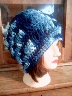 New Hand Crocheted Handmade Women s hat slouch hat in shades of blue H094   fashion ba70ef763850