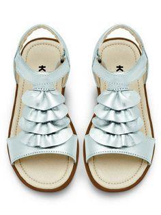 See Kai Run Girls Kaina Silver Ruffle Sandals
