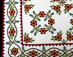 Hand Applique Rose of Sharon & Incredible floral Borders QUILT TOP - Must See ! #MuseumQuiltscom