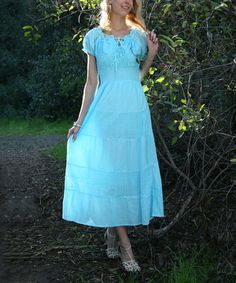 Another great find on #zulily! Turquoise Crochet Peasant Dress by Ananda's Collection #zulilyfinds