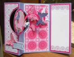 Kim's Stamping Spot: JAI 198 Blog Hop.  The inside of a fancy fold card, she used a spiral cut piece of CS that gives 'flight' to the butterflies.  So clever and lovely