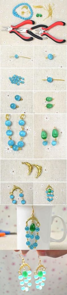 DIY Chandeliers Dangle Earrings with Blue Beads and Gold Pendant Links from LC.Pandahall.com #pandahall | Jewelry Making Tutorials & Tips 2 | Pinterest by Jersica