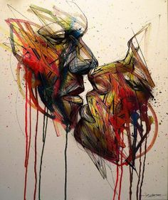 Alexandre Monteiro aka Hopare is a Paris-based growing figure of the street art scene. He discovered street art when he was around 12 yea. Banksy, Abstract Portrait, Abstract Art, Art Amour, Illustration, Wow Art, Arte Pop, London Art, Street Art Graffiti