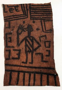 Africa | Bark cloth from the Mangbetu women of Niangara, DR Congo | Barkcloth and piment | ca. 1915