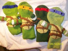 Crochet Teenage Ninja Turtles golf club covers set of all 4 Turtles - AWESOME I want these so bad