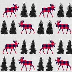 Woodland Moose Fabric by the Yard. Quilting Cotton, Knit, Jersey or Minky. Boy Nursery Fabric, Plaid, Buffalo Check, Forest, Pine, Winter Linen Fabric, Cotton Fabric, Woodland Fabric, Nursery Fabric, Bags Sewing, Kona Cotton, Buffalo Check, Winter Accessories, Fabric Material