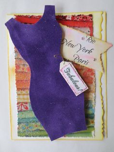 Card - Handmade Fashion Card - Diva Purple Dress Greeting Card - Blank Card - Happy Birthday Card