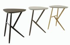 KIJI side tables   Design: Noe Duchaufour-Lawrance.  These occasional pieces feature a sculptural oak base with durable linoleum top. Available in : pebble or coffee with base in natural , smoke or anthracite stain oak.