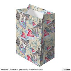 NEW. #Raccoon #Christmas #pattern #giftbag Available in different products. Check more at www.zazzle.com/celebrationideas