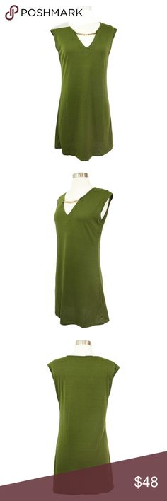 Army Green Embellished V Neck Shift Dress * Shift Dress * V Neckline * Sleeveless * Polyester  STYLING TIPS * Undergarments: Wear it with your favorite lingerie. * Jewelry: Wear this dress with dangly earnings and a bracelet. * Shoes: Pair this dress with strappy sandals for a casual look or wedge sandals for a Girls' Night Out Look. MBM Unlimited Dresses Mini
