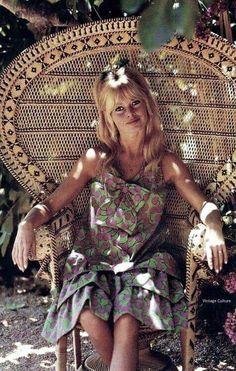 Bridget Bardot in amazing rattan chair