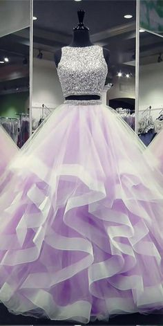 Sparkly Beaded Long Two Pieces Quinceanera Dress 2019 Custom Made Tulle Beadings Sweet Dress Fashion Long 2 Pieces Graduation Party Dress Beaded School Dance Dress Pageant Dress for Girls Source by 16 dresses Sparkly Prom Dresses, Girls Pageant Dresses, Prom Dresses For Teens, Beautiful Prom Dresses, Pretty Dresses, Quince Dresses, Ball Dresses, Ball Gowns, Two Piece Quinceanera Dresses