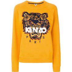 Kenzo Tiger embroidered sweatshirt ($295) ❤ liked on Polyvore featuring tops, hoodies, sweatshirts, kenzo, kenzo sweatshirt, embroidered sweatshirts, yellow sweatshirt and kenzo top