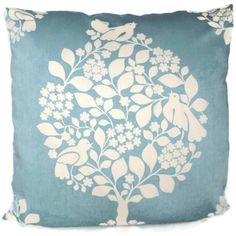 Duralee Light Blue Tree of Life Decorative Pillow by PopOColor, $45.00