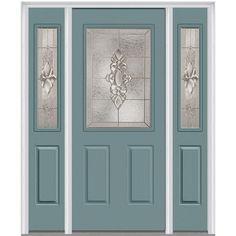 Milliken Millwork 64.5 in. x 81.75 in. Heirloom Master Decorative Glass 1/2 Lite Painted Majestic Steel Exterior Door with Sidelites, Riverway
