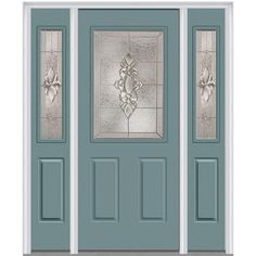 Milliken Millwork 64.5 in. x 81.75 in. Heirloom Master Decorative Glass 1/2 Lite Painted Majestic Steel Exterior Door with Sidelites, Riverway