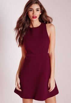 Textured Neoprene Cut Out Skater Dress Burgundy - Dresses - Day Dresses - Skater Dresses - Missguided