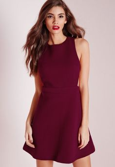 Textured Neoprene Cut Out Skater Dress Burgundy - Dresses - Day Dresses - Skater Dresses - Missguided